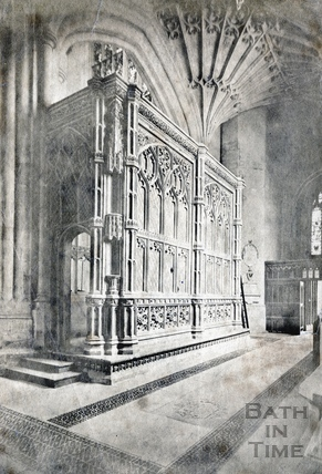 Prior Bird's Chantry chapel, detail of interior Bath Abbey c.1873