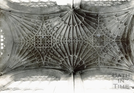 Arms on the vault of the north transept, Bath Abbey c.1894