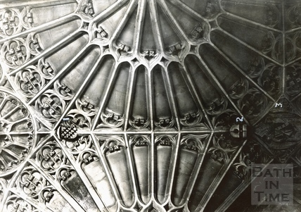 Arms on the vault of the south aisle of presbytery, Bath Abbey c.1894
