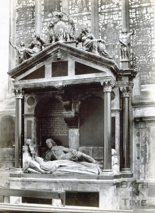 Monument to Lady Waller, south transept, Bath Abbey c.1894