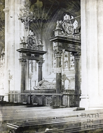 Bishop Montague's Tomb, inside Bath Abbey 1894