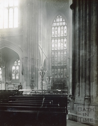 Bath Abbey interior. South transept and portion of south aisle behind the choir c.1950s?