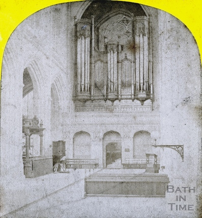 Bath Abbey Nave and organ, before internal restoration c.1860
