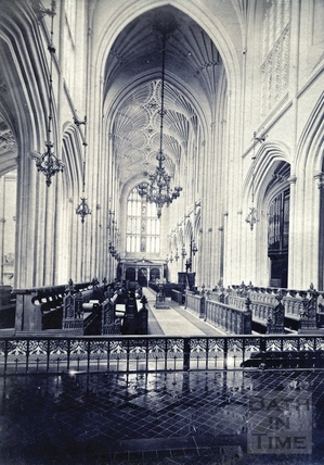 Interior of Bath Abbey looking west c.1873