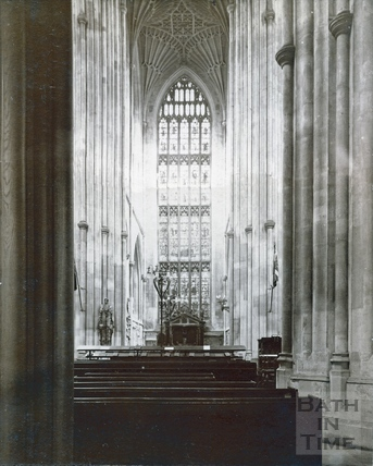 Bath Abbey interior. South Transept from beneath the organ loft c.1894