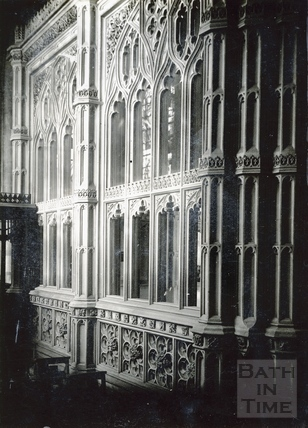 Bath Abbey, exterior of Prior Birde's Chantry chapel c.1950s?