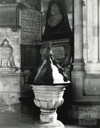 The font at Bath Abbey c.1894