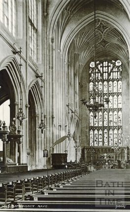 Bath Abbey Nave looking east, showing the tomb of Bishop Montague c.1930s