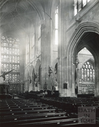 Interior of Bath Abbey. The Nave looking towards the chancel c.1950s?
