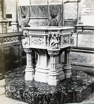 The font at Bath Abbey c.1890