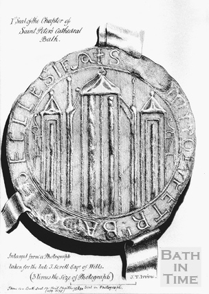 1st Seal of the Chapter of St Peter's Cathedral, Bath in use from the middle of the 12th to close of 13th century, thought to be showing the early Abbey building, drawn c.1870s
