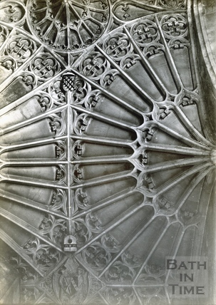 Bath Abbey fan vaulting, south aisle of choir c.1894