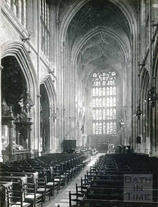 The Nave of Bath Abbey looking towards the choir and east window c.1950s?