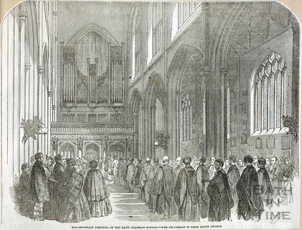 Tercentenary Festival of the Bath Grammar School - The Procession in Bath Abbey 1854