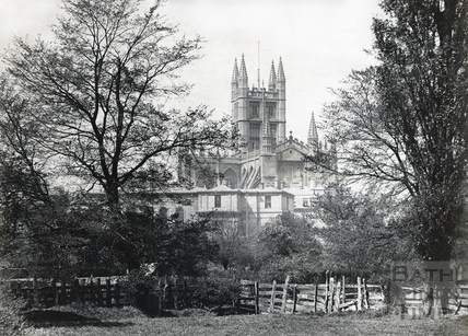 Bath Abbey and the old BRSLI building viewed from across the river Avon, c.1890