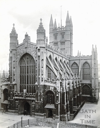 Abbey Church, west end and south side, during the building of the Pump Room extension 1895