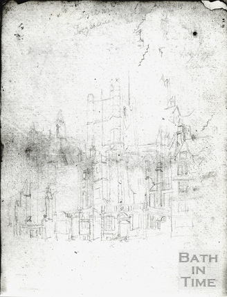 Abbey Church (exterior), east end. Pencil sketch for drawing by J.M.W. Turner c.1796