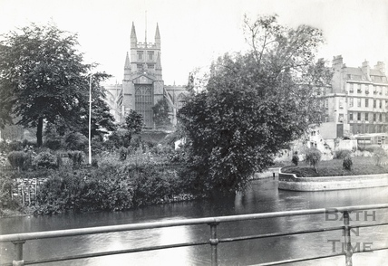 Bath Abbey and the site of Town Mill, viewed from across the River Avon c.1890