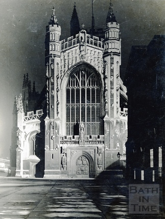 Bath Abbey west front. Floodlit during the coronation of George VI, May 1937