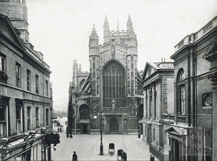 Abbey Church, west front and Abbey Churchyard c.1910