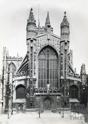 West front of Bath Abbey, Bath c.1890