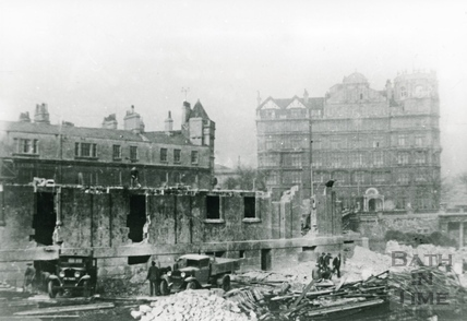 The demolition of the Bath Royal Literary & Scientific Institute, Bog Island 1932
