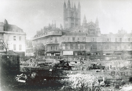 The demolition of the Bath Royal Literary & Scientific Institute, Terrace Walk, 1932