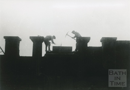 The demolition of the Bath Royal Literary & Scientific Institute, Terrace Walk 1932