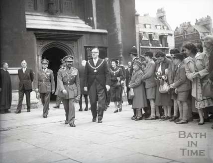 Emperor Haile Selassie with the Mayor Cllr Gallop leaving Bath Abbey, Oct 18 1954
