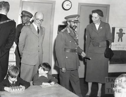 Emperor Haile Selassie visiting Moorlands Junior School in Bath, Oct 18th 1954