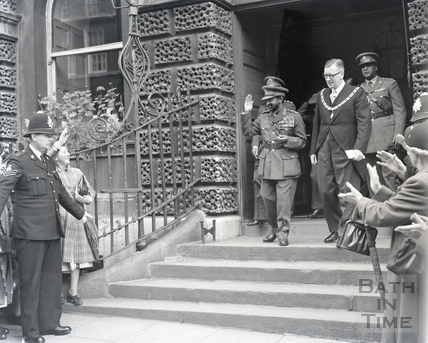 Emperor Haile Selassie with the Mayor Cllr Gallop on the steps of the Guildhall, Oct 18 1954