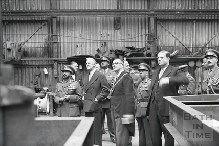 Emperor Haile Selassie with the Mayor Cllr Gallop visit Stothert & Pitt's Newark Works, 18th Oct 1954