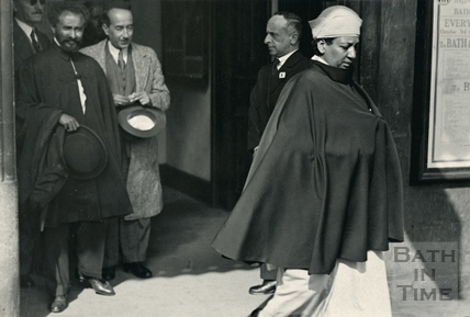 Emperor Haile Selassie waiting to greet Empress Menen at Bath Spa station in October 1936