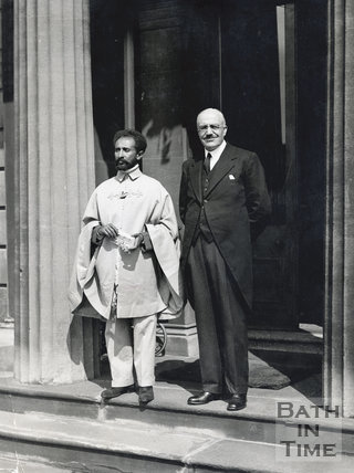 Haile Selassie on the steps of the Bath Spa Hotel, August 1936