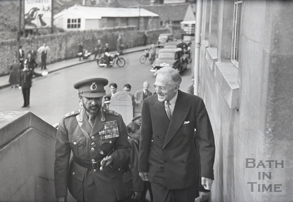 Sir Llewellyn Soulsby, Chairman of Stothert & Pitt and Halie Selassie on a tour of the Newark Works Oct 1954