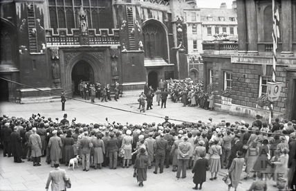 Emperor Haile Selassie leaving Bath Abbey to meet the crowds, Oct 18 1954