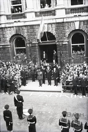 Haile Selassie and the Mayor of Bath Cllr Gallop on the steps of the Guildhall, 18 Oct 1954