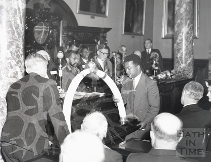 The elephant tusks, presented by Emperor Haile Selassie to the city of Bath, Oct 18 1954