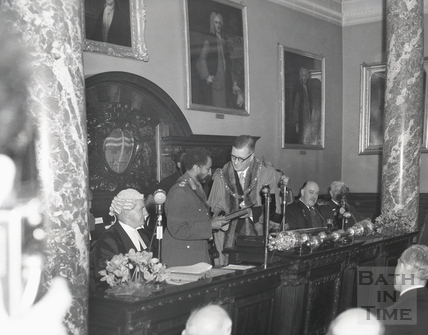 Emperor Haile Selassie receiving the Freedom of the City of Bath from the Mayor Cllr Gallop, Oct 18 1954