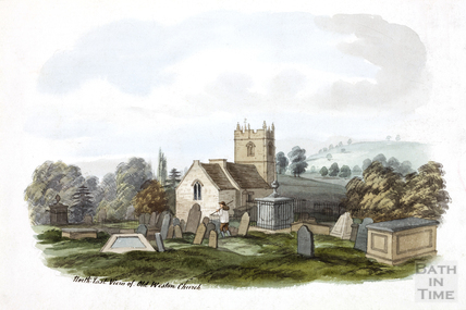 Northeast view of the old All Saints Church, Weston pre 1830