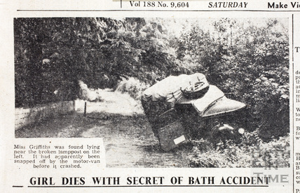 Girl Dies with Secret of Bath Accident - Picture of crashed van 25 August 1945