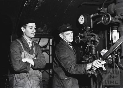 Inside the engine cab of a Somerset & Dorset engine c.1961
