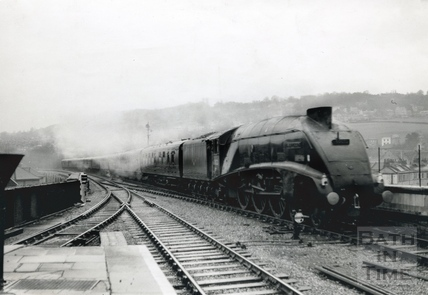 The record breaking Mallard approaching Bath Spa station c.1960