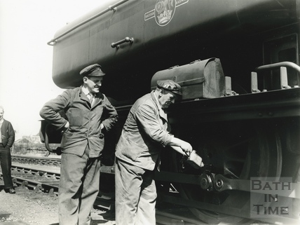 Applying lubrication to a Somerset & Dorset train 13 May 1961