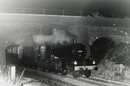 Locomotive No 53809 - 7F passing under the the S&D bridge in the early morning at Oldfield Park c.1986