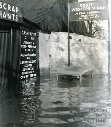 The flooded premises of South Western Scrap Merchants, 17-20 St John's Road 1960