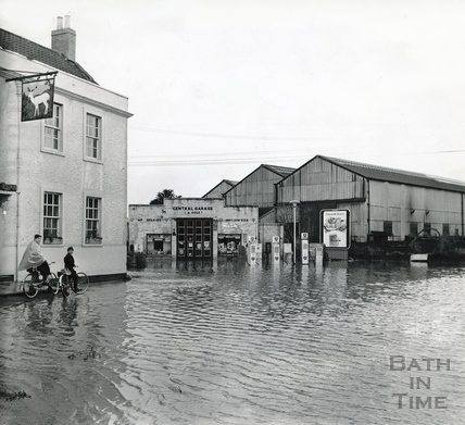The White Hart, Bitton in flood, July 1968