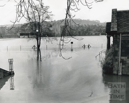 View past the Pavilion across a flooded Recreation Ground, July 1968 or 1960?