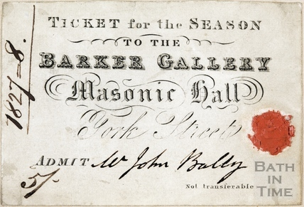 Ticket for the Season to the Barker Gallery, Masonic Hall, York Street, Bath 1927 - 8