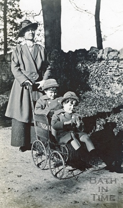 The photographer's wife Violet posing with her twin boys c.1916